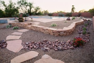 Flagstone Retaining and Planter Wall